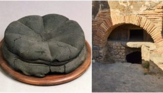 A preserved loaf of Bread from Pompeii complete with the maker's stamp.