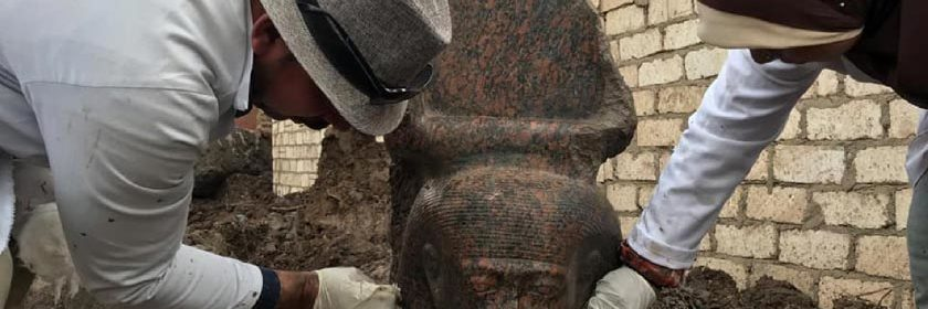 RED GRANITE BUST OF RAMESSES II UNEARTHED IN GIZA