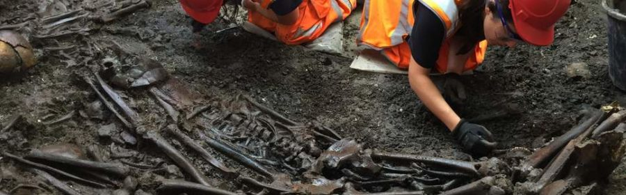 14th-Century Medieval Black Death skeletons unearthed by Crossrail project in London