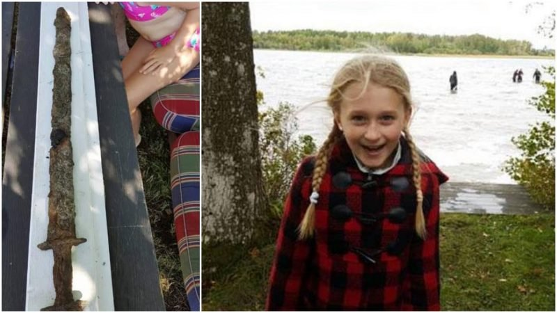 Eight-year-old Swedish-American girl pulls pre-Viking era sword from a lake