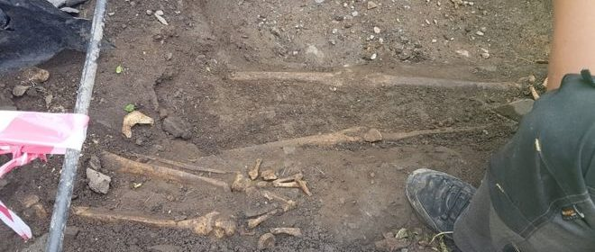 Medieval skeletons were found beside Down Cathedral in Downpatrick