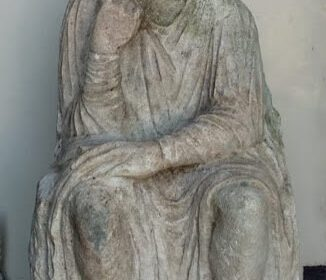 An ancient statue with a pensive face was found in Italy