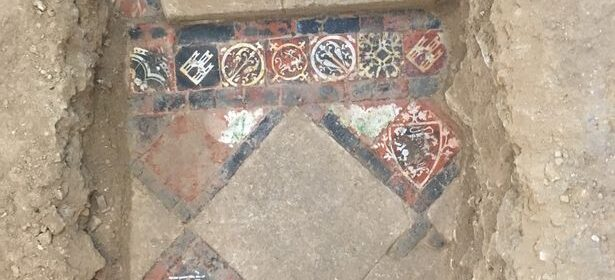 Stunning 13th century tiled floor uncovered below Bath Abbey